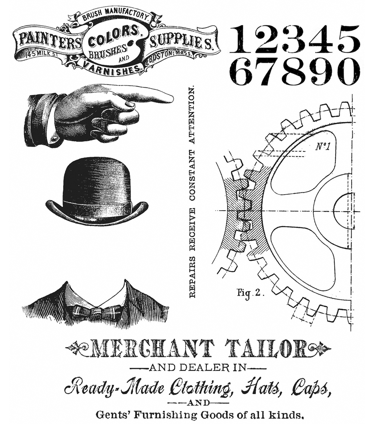 Tim Holtz Cling Stamps 7\u0022X8.5\u0022-Dapper