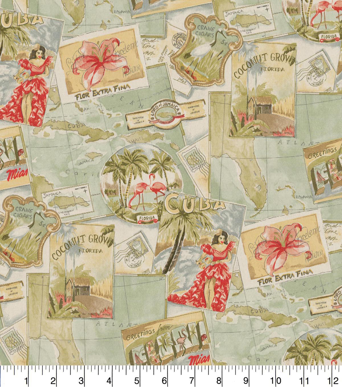 PKL Studio Outdoor Fabric 9\u0022x9\u0022 Swatch-Greetings from Paradise Seaglass