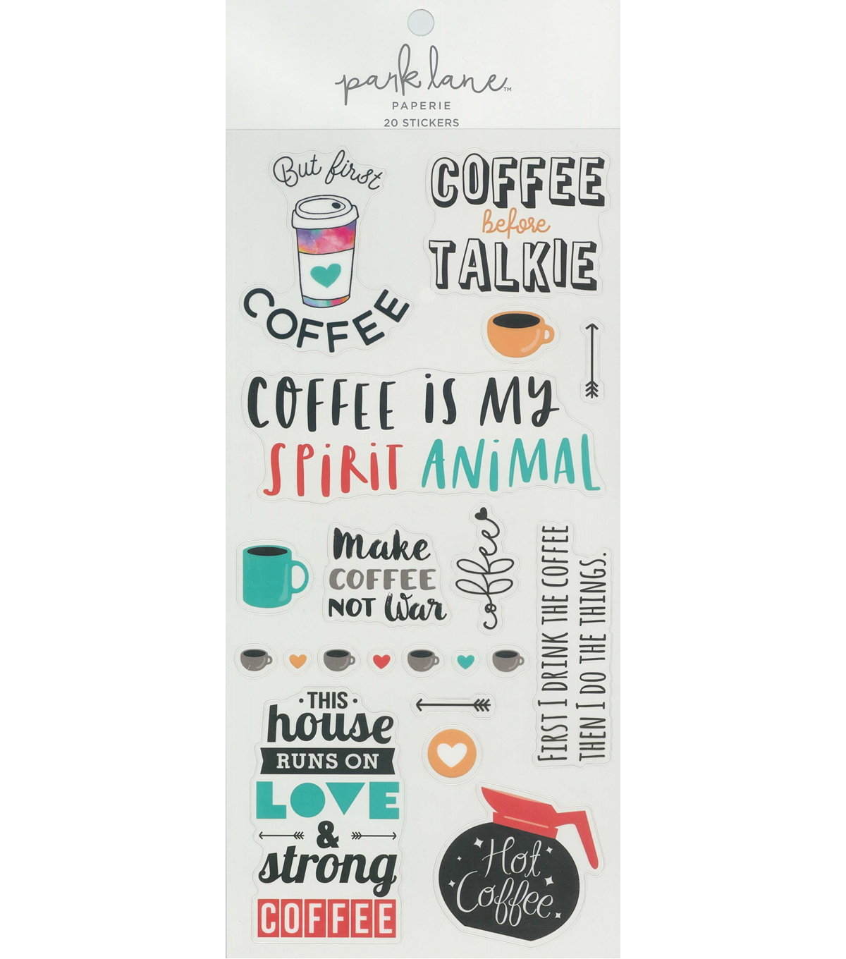 Park Lane Paperie 20 pk Stickers-Coffee