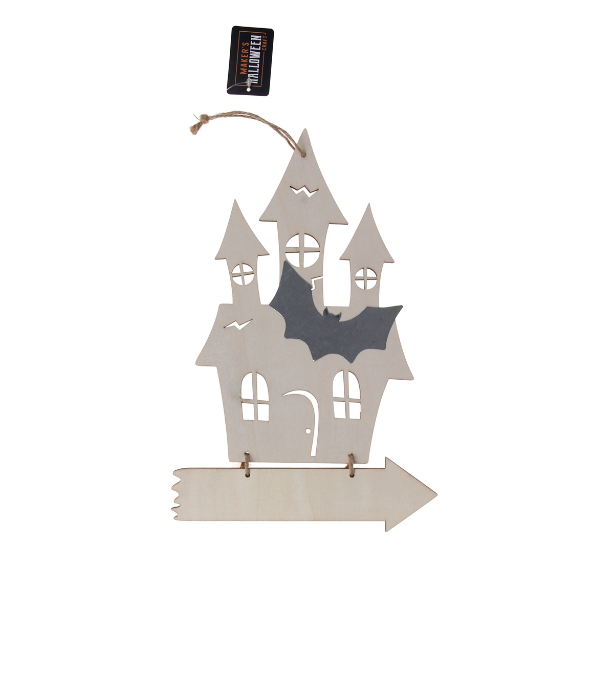 Maker\u0027s Halloween Craft Wooden Hanging Haunted House with Arrow