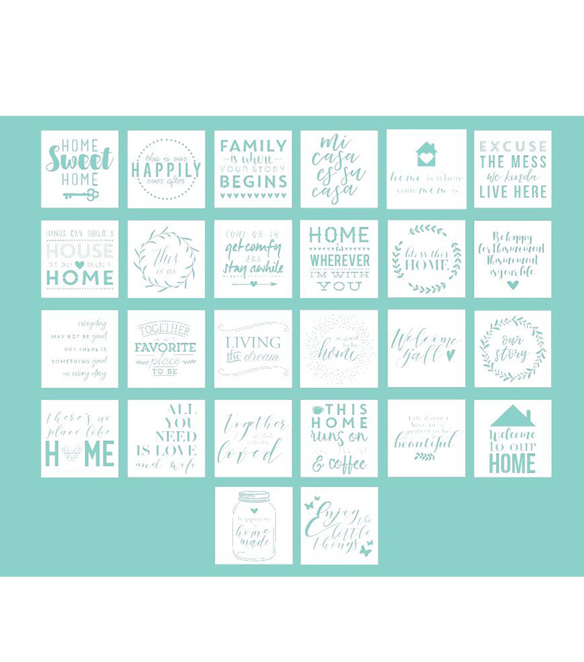 Hampton Art 12X12 Stencils-Home Sayings
