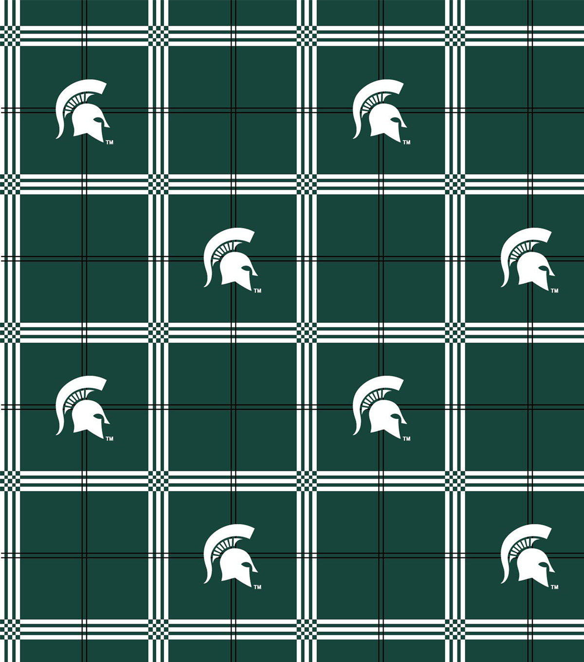 Michigan State University Spartans Flannel Fabric Plaid