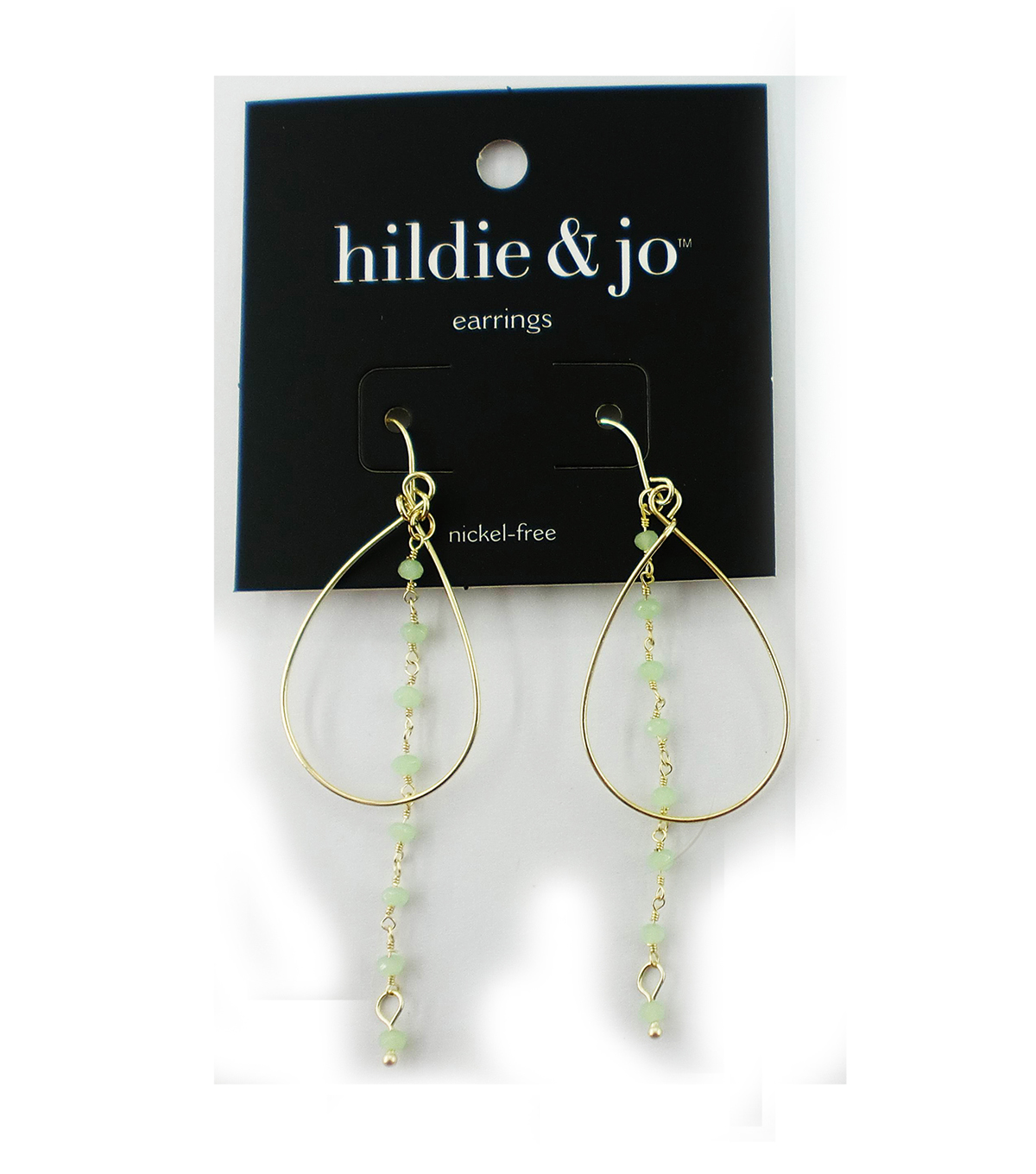 hildie & jo Open Teardrop Gold Earrings-Light Green Beads