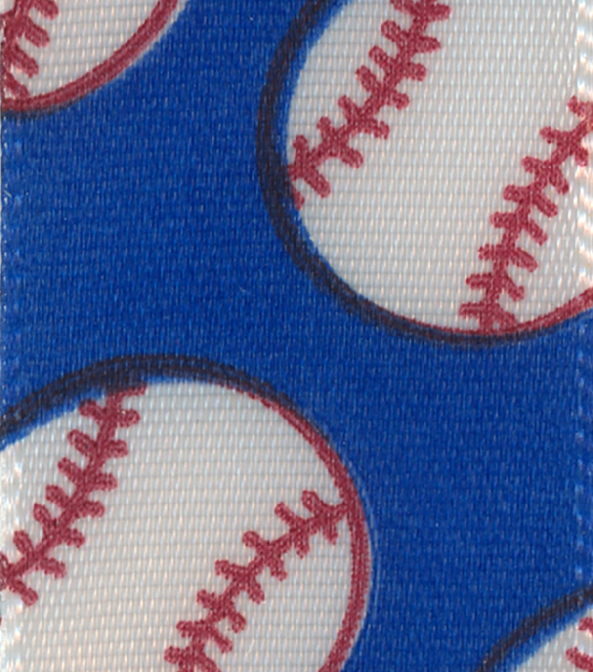 Offray 7/8\u0022x9\u0027 Baseball Sport Single Faced Satin Ribbon-White