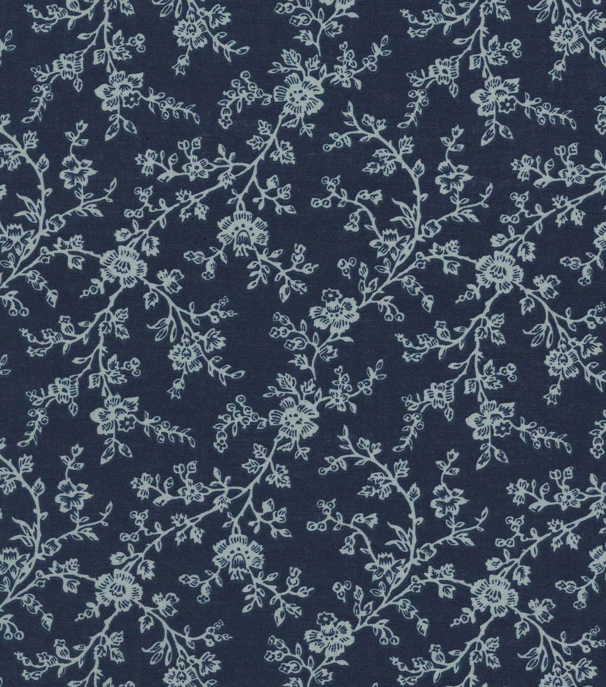 Quilter\u0027s Showcase Cotton Fabric 44\u0022-Navy Gray Floral Vines