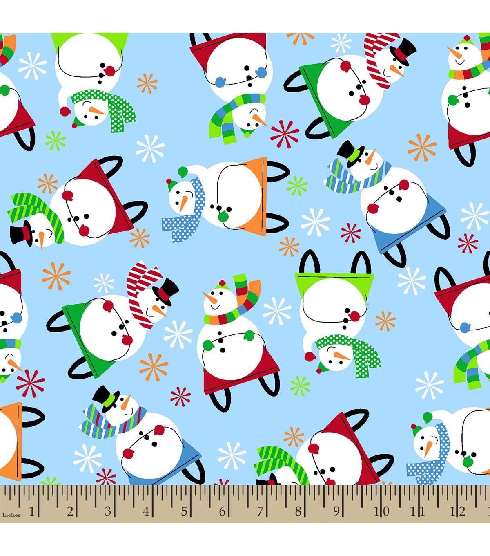 - Christmas Print Fabric-Sledding Snowman Eco Canvas JOANN