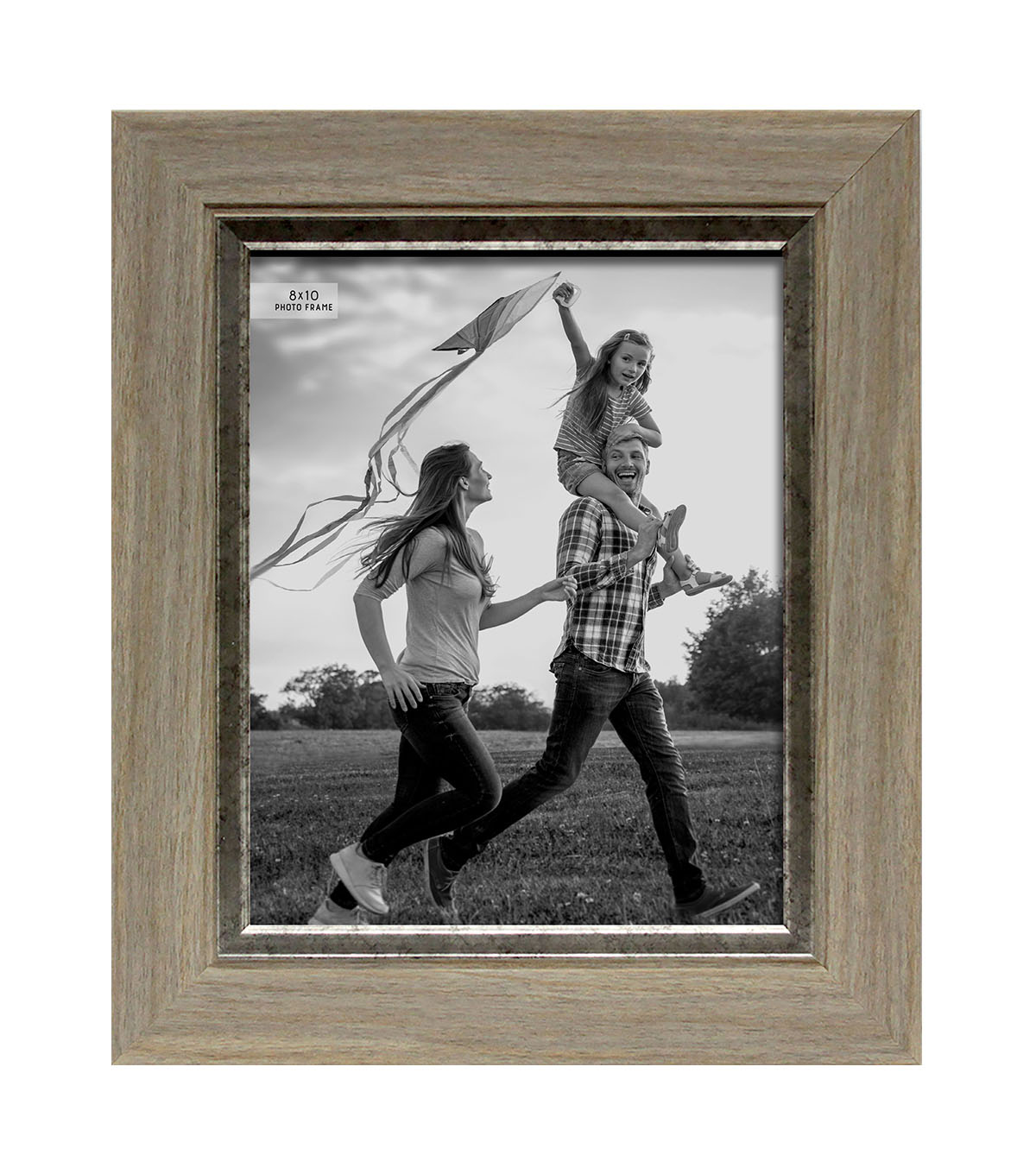 Photo Frame 8\u0027\u0027x10\u0027\u0027-Gray Wash with Smoky Silver