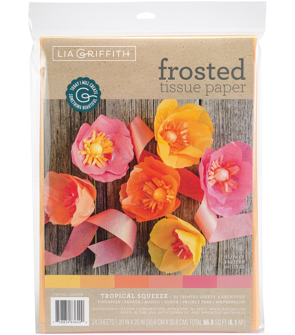 Lia Griffith 24 pk 20\u0027\u0027x20\u0027\u0027 Frosted Tissue Papers-Tropical Squeeze