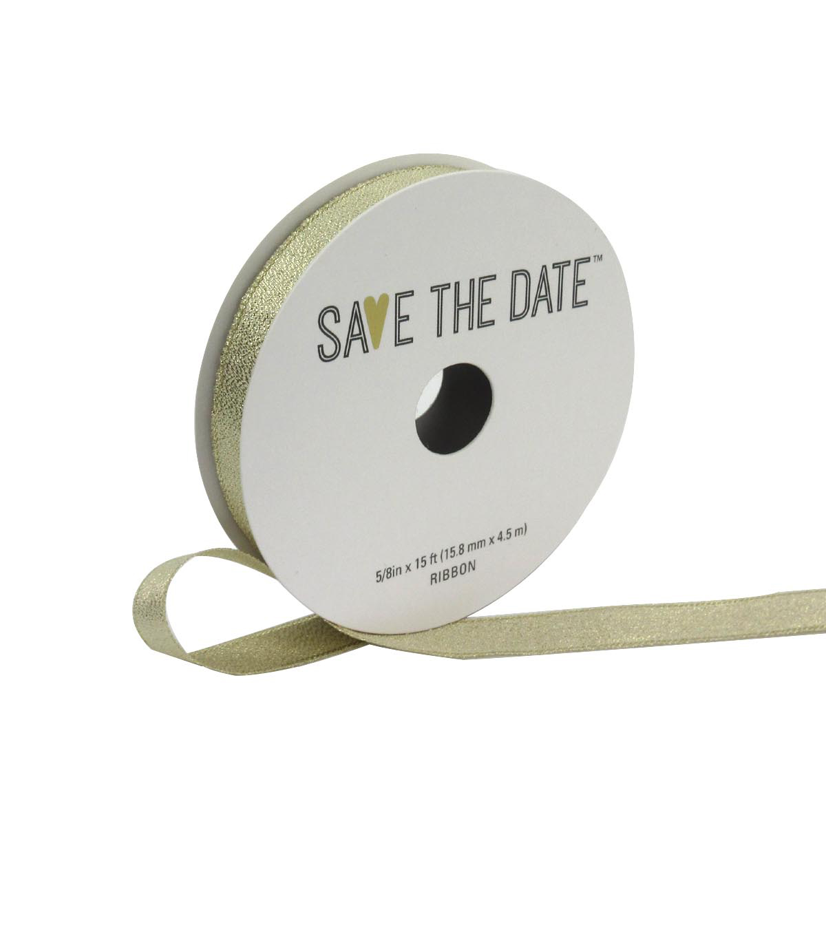 Save the Date 5/8\u0022 x 15ft Ribbon-Champagne Metallic