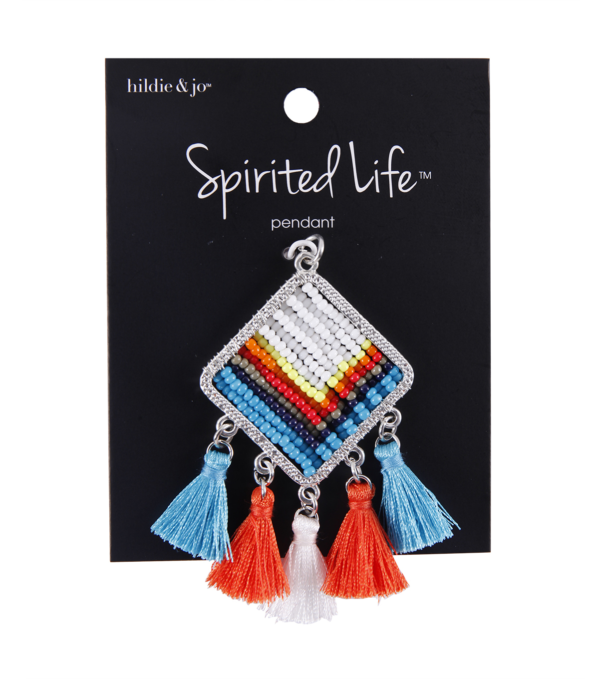 hildie & jo Spirited Life Beaded Square Pendant with Tassels