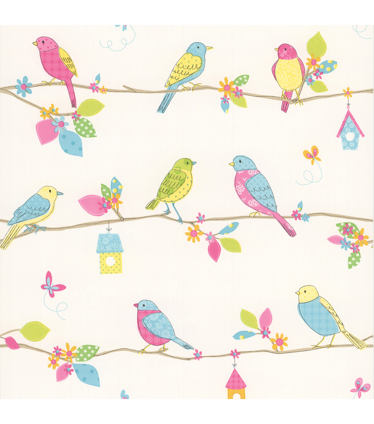 Social Birdie White Quilted Birds Wallpaper Sample