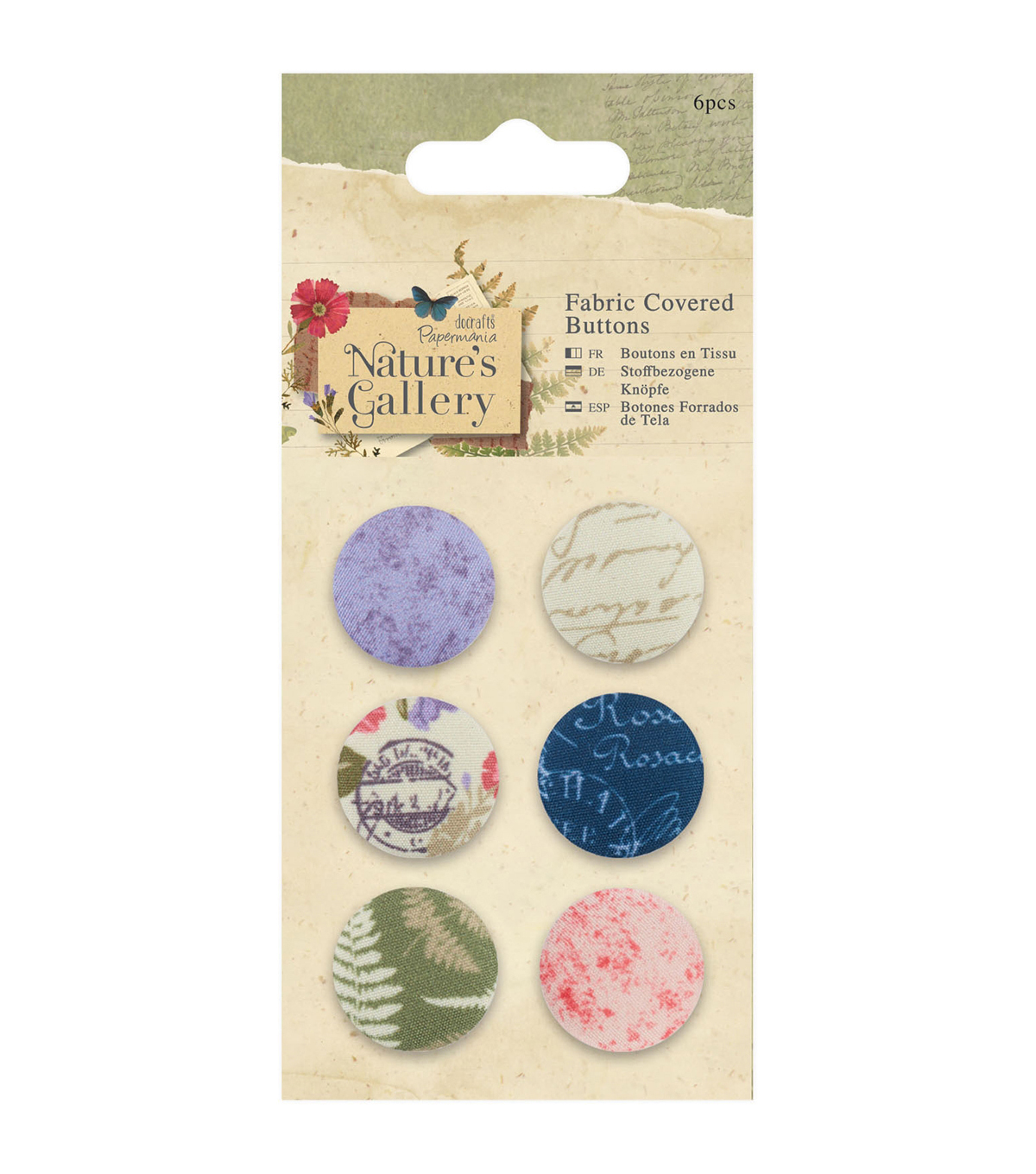 Papermania Nature\u0027s Gallery 6pcs Fabric Covered Buttons