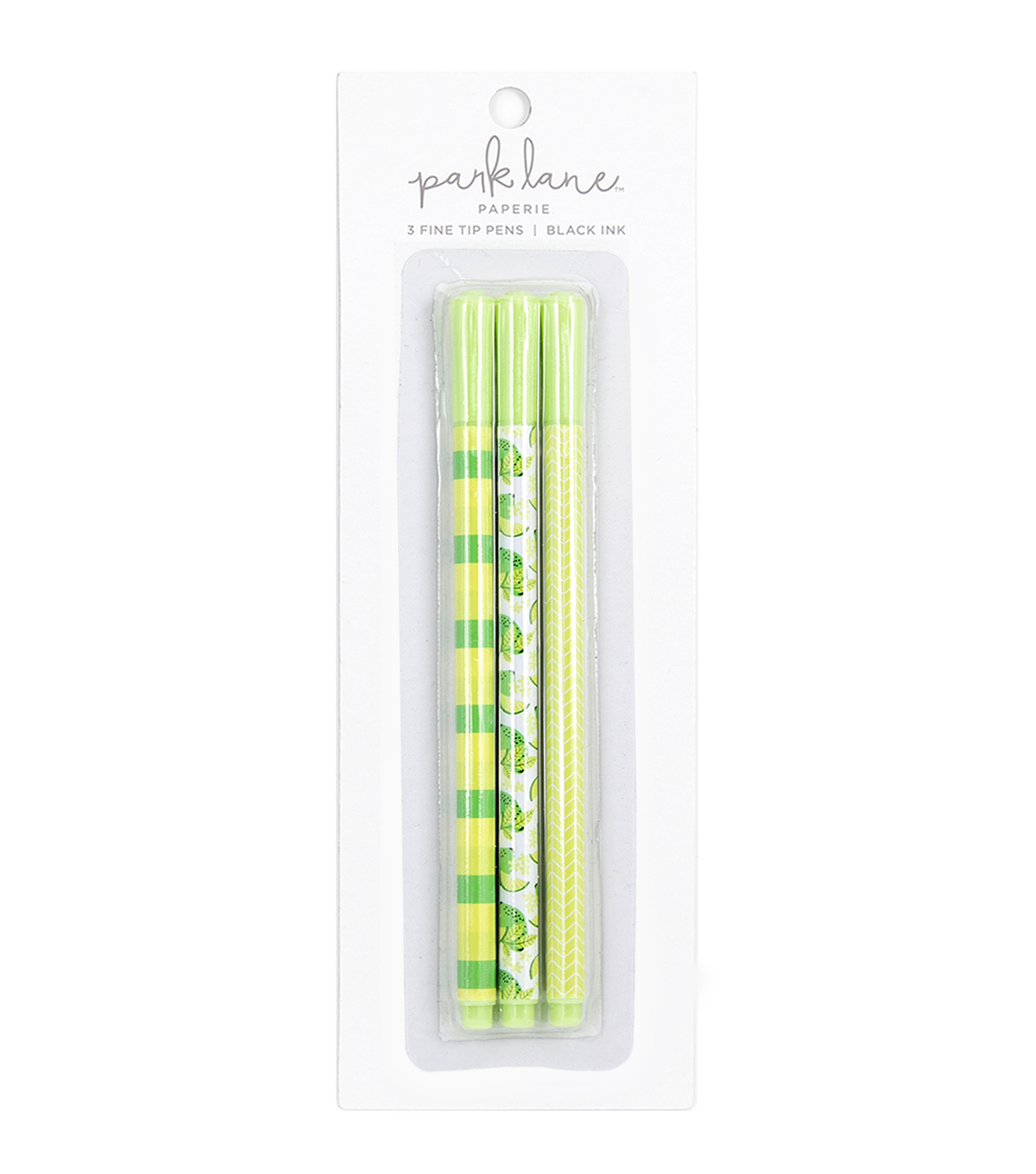 Park Lane 3 pk Fine Tip Black Ink Pens-Lime