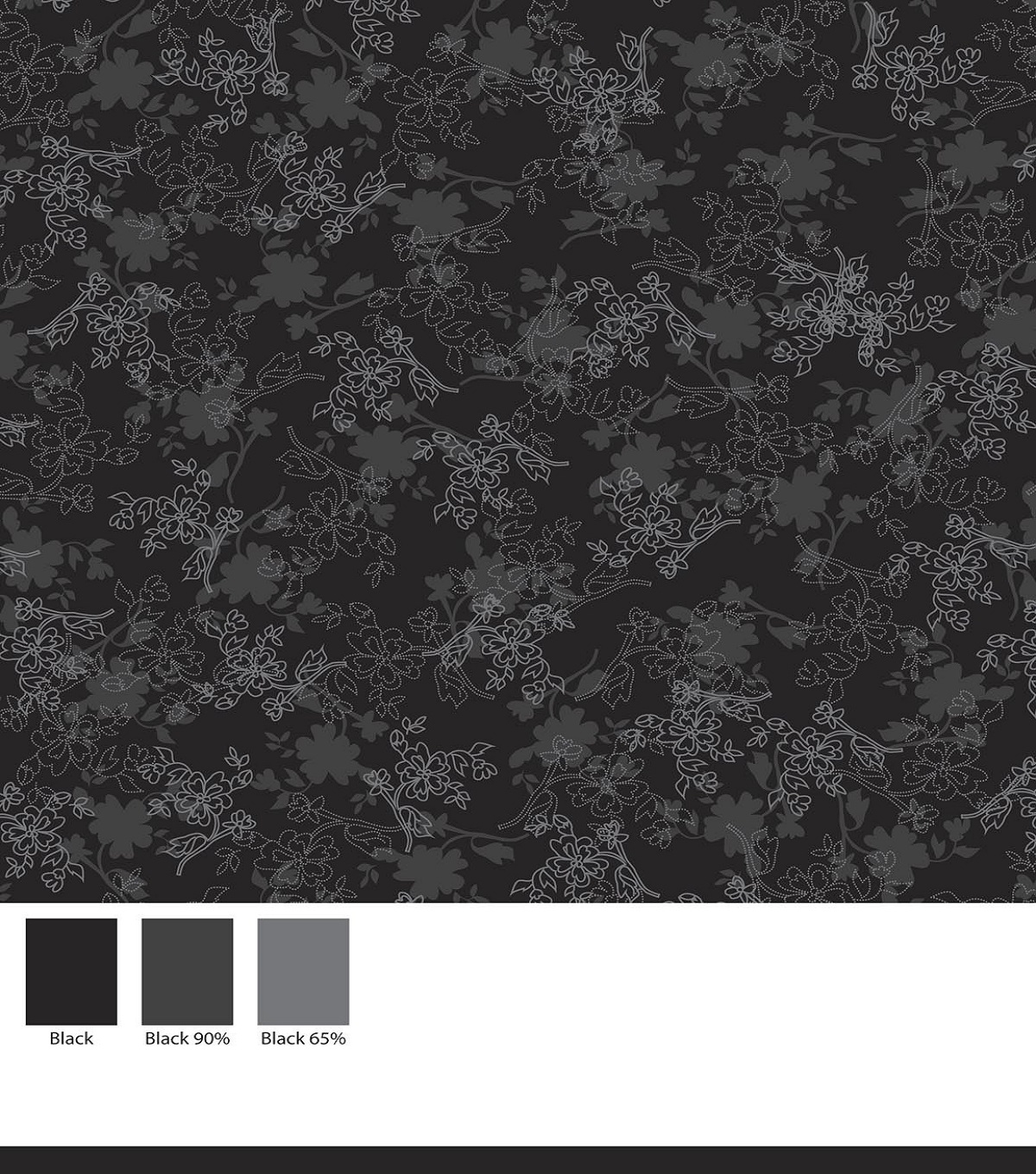 Keepsake Calico Cotton Fabric -Floral On Black