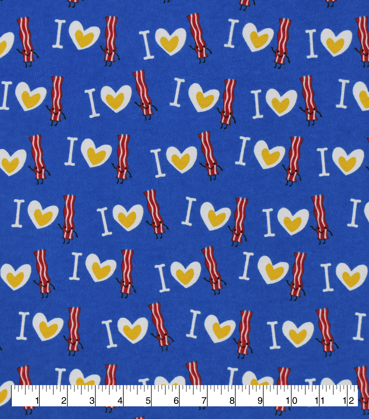 Snuggle Flannel Fabric-I Heart Bacon