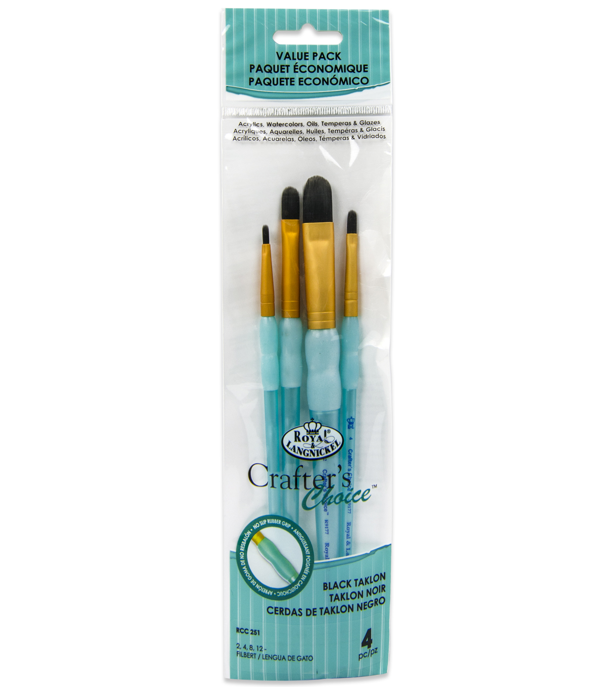 Royal & Langnickel Filbert Brush Set 4pk-Black Taklon