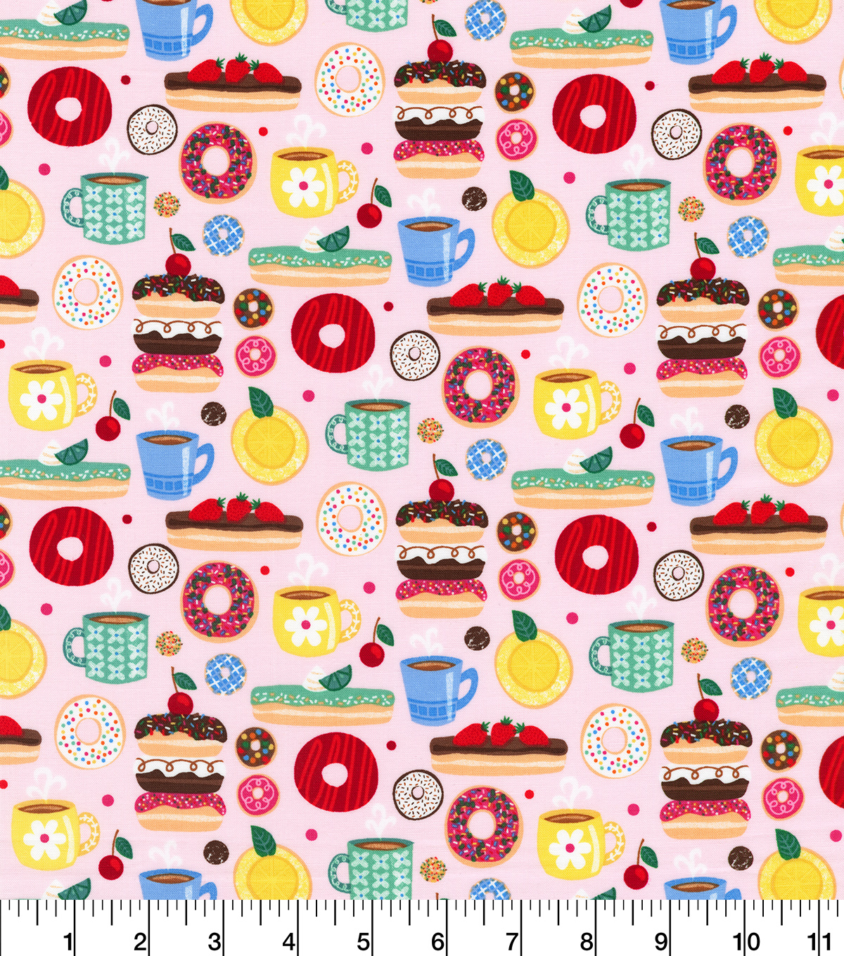 Novelty Cotton Fabric-Sweet Treats on Pink