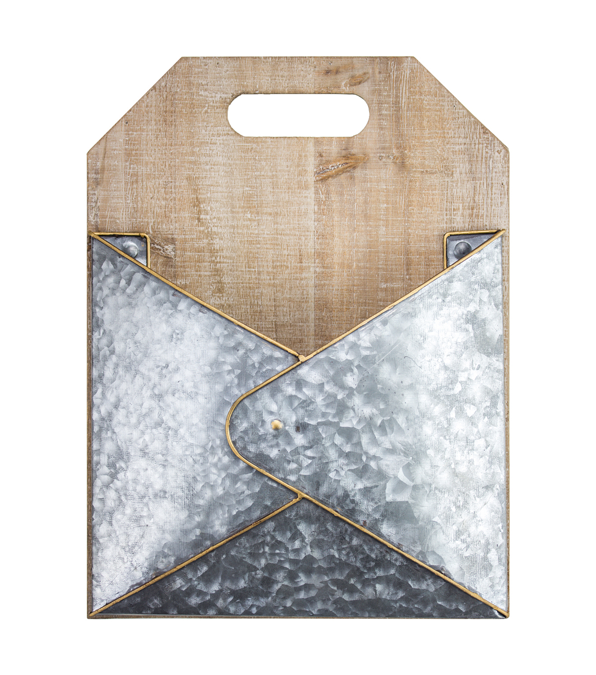 Furniture Finds Pocket Wood & Galvanized Metal Mail Holder