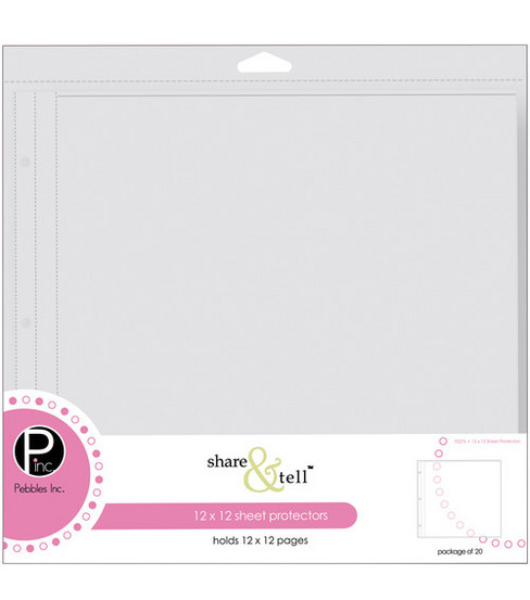 Pebbles 12\u0022x12\u0022 Share&Tell Pages-20PK/Page Protectors