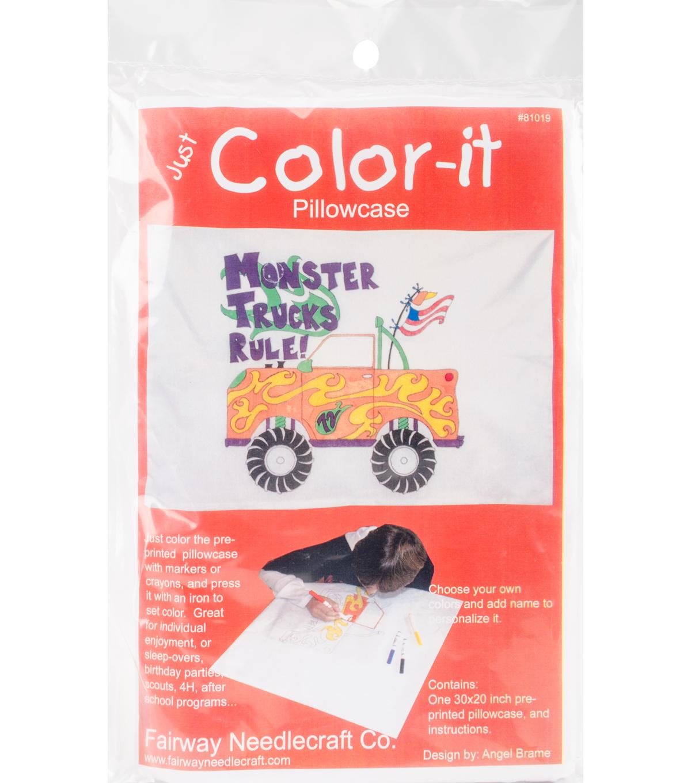 Fairway Needlecraft Just Color It Pillowcase Monster Trucks Rule