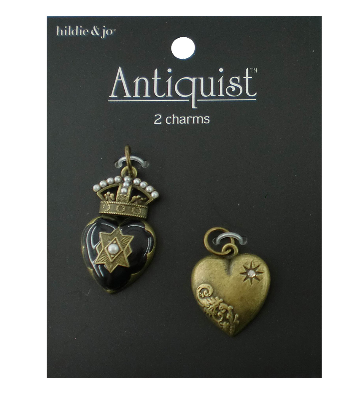 hildie & jo Antiquist 2 Pack Heart Antique Gold Charms