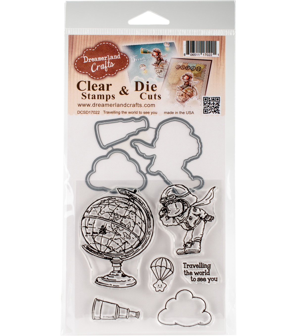 Dreamerland Crafts Clear Stamp & Die Set-Traveling The World To See You
