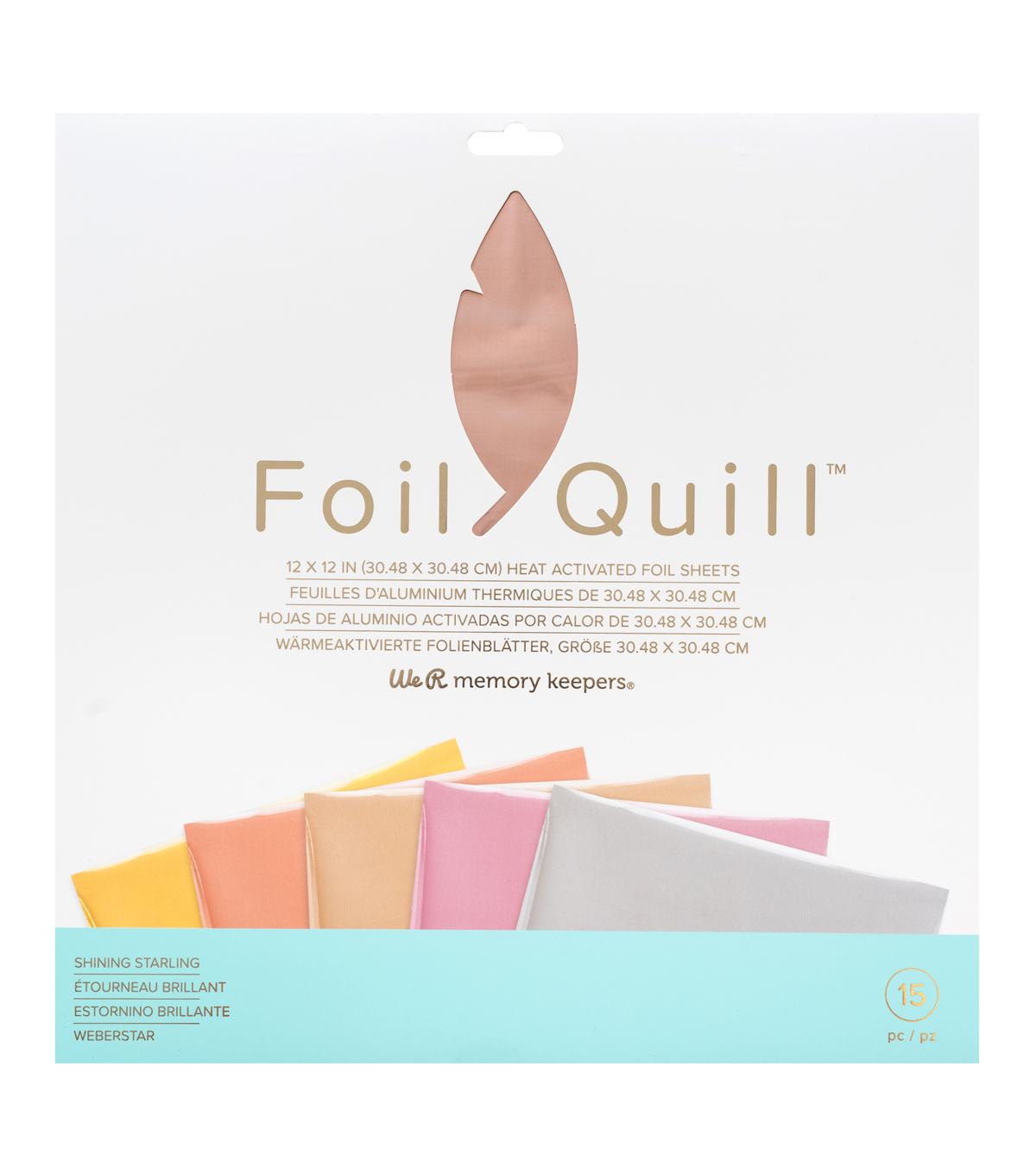 We R Memory Keepers Foil Quill 15pk 12\u0022x12\u0022 Foil Sheets-Starling