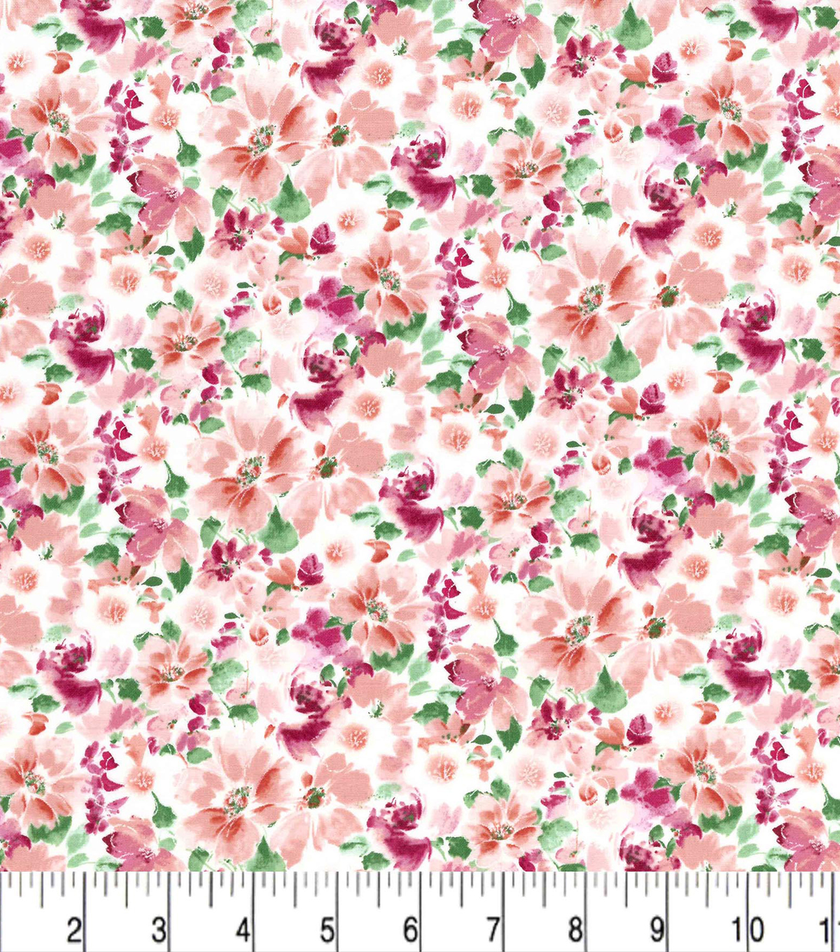 Premium Cotton Fabric -Sketched Floral Pink Pearl