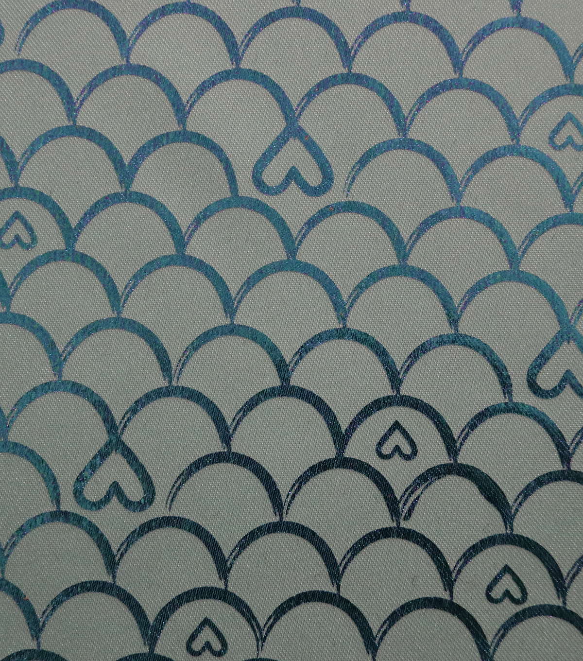 Glitterbug Fabric 31\u0027\u0027-Turquoise Printed Scallop with Hearts