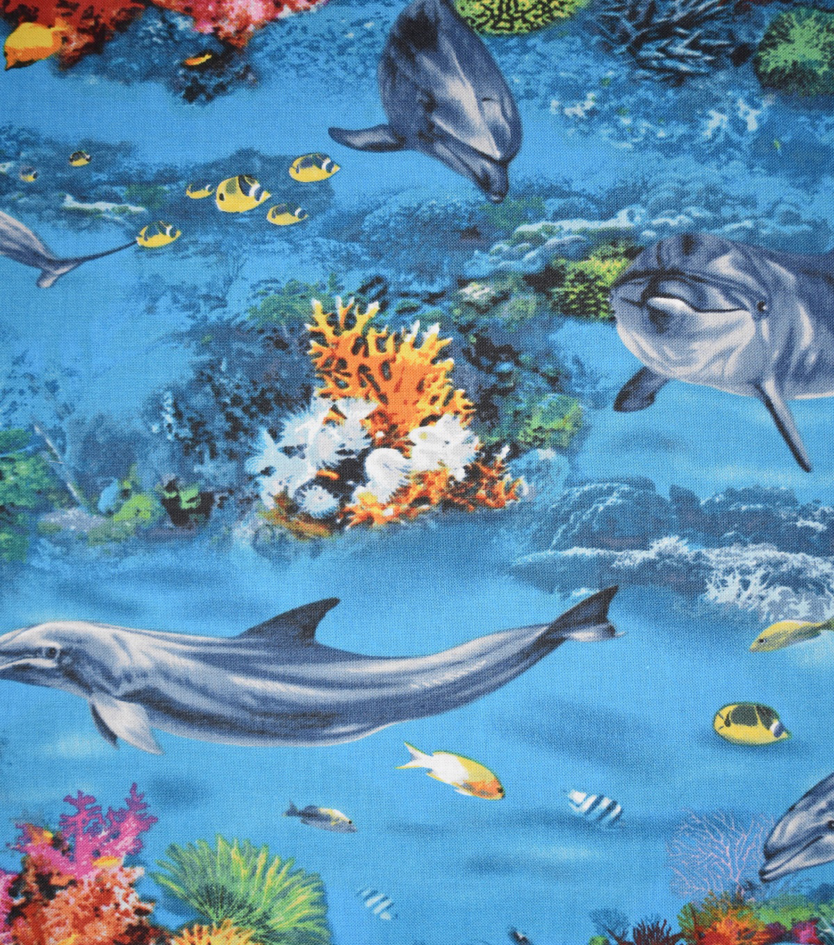 a3459443 Novelty Cotton Fabric -Dolphins & Coral