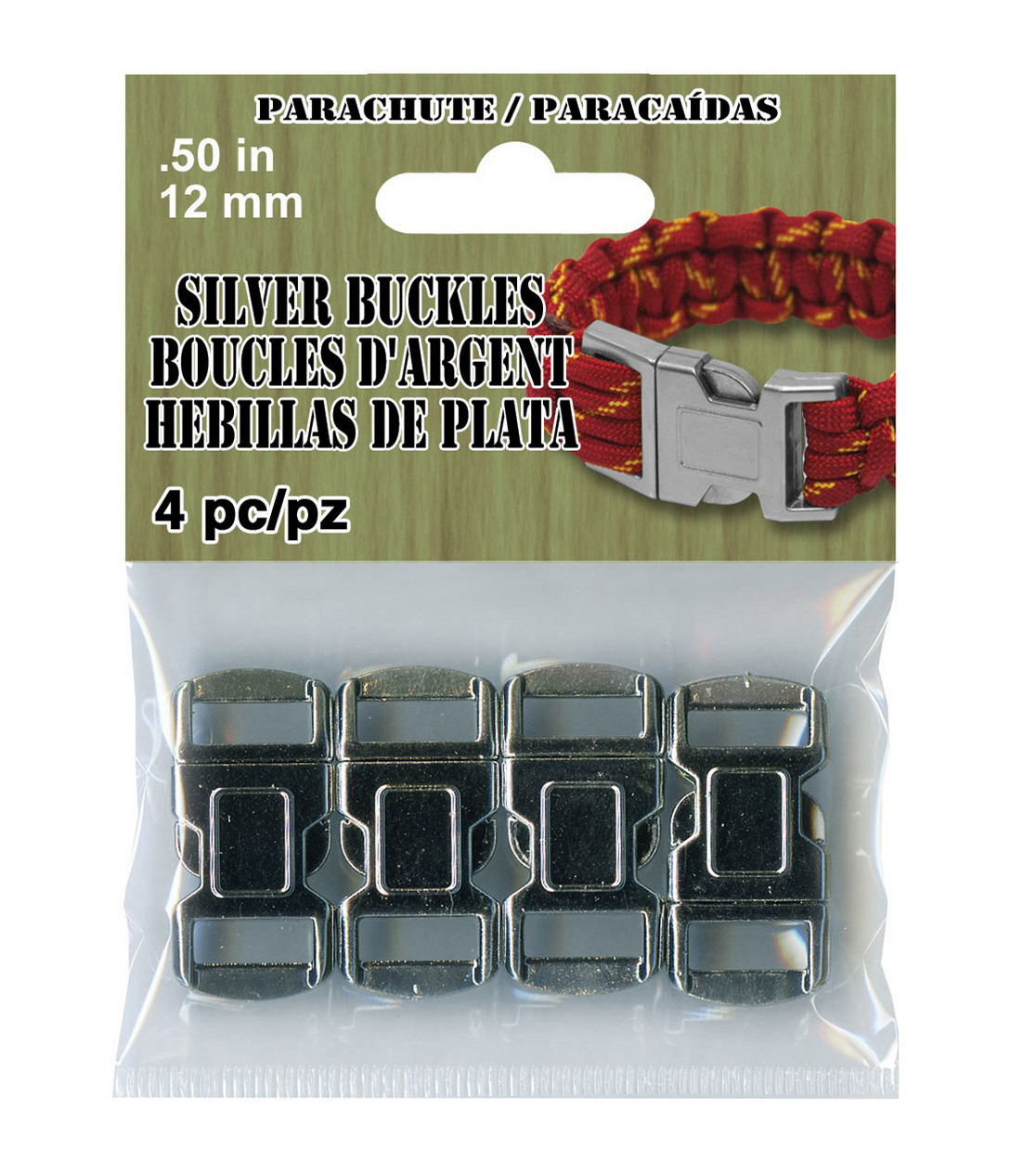 Pepperell Braiding Company 4 pk 12 mm Parachute Cord Buckles-Silver