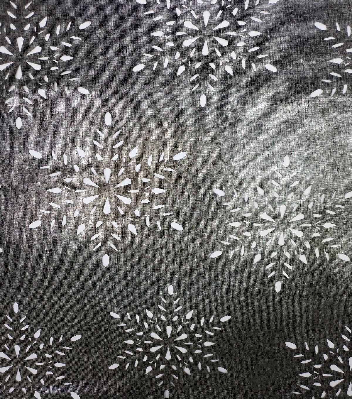 Christmas Cotton Fabric-Black Snowflake Silver Foil