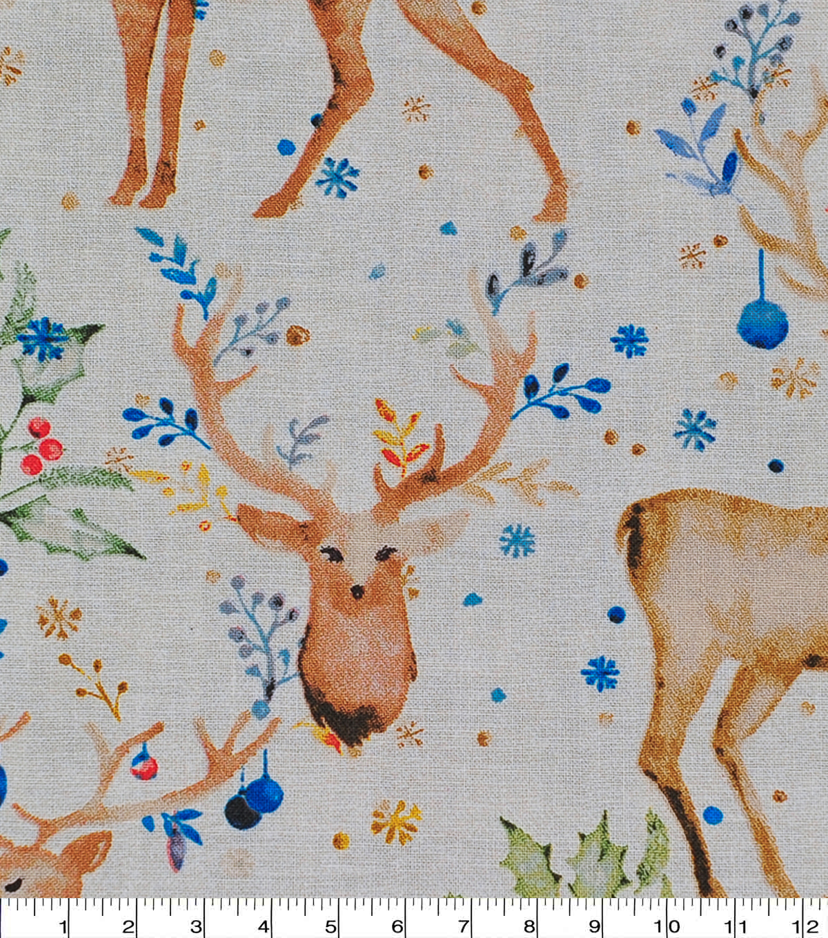 Christmas Cotton Fabric-Watercolor Holday Deer
