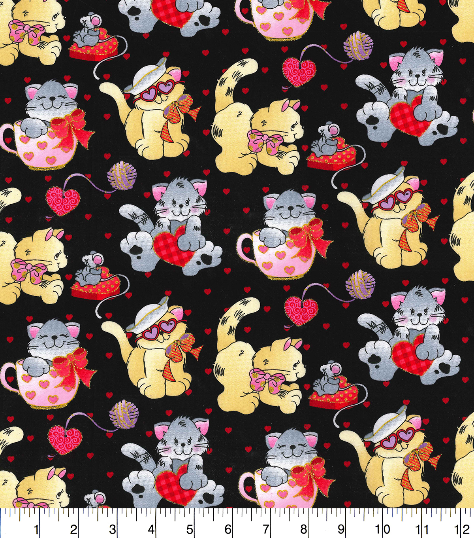 Valentine S Day Cotton Fabric Valentine Kittens Joann