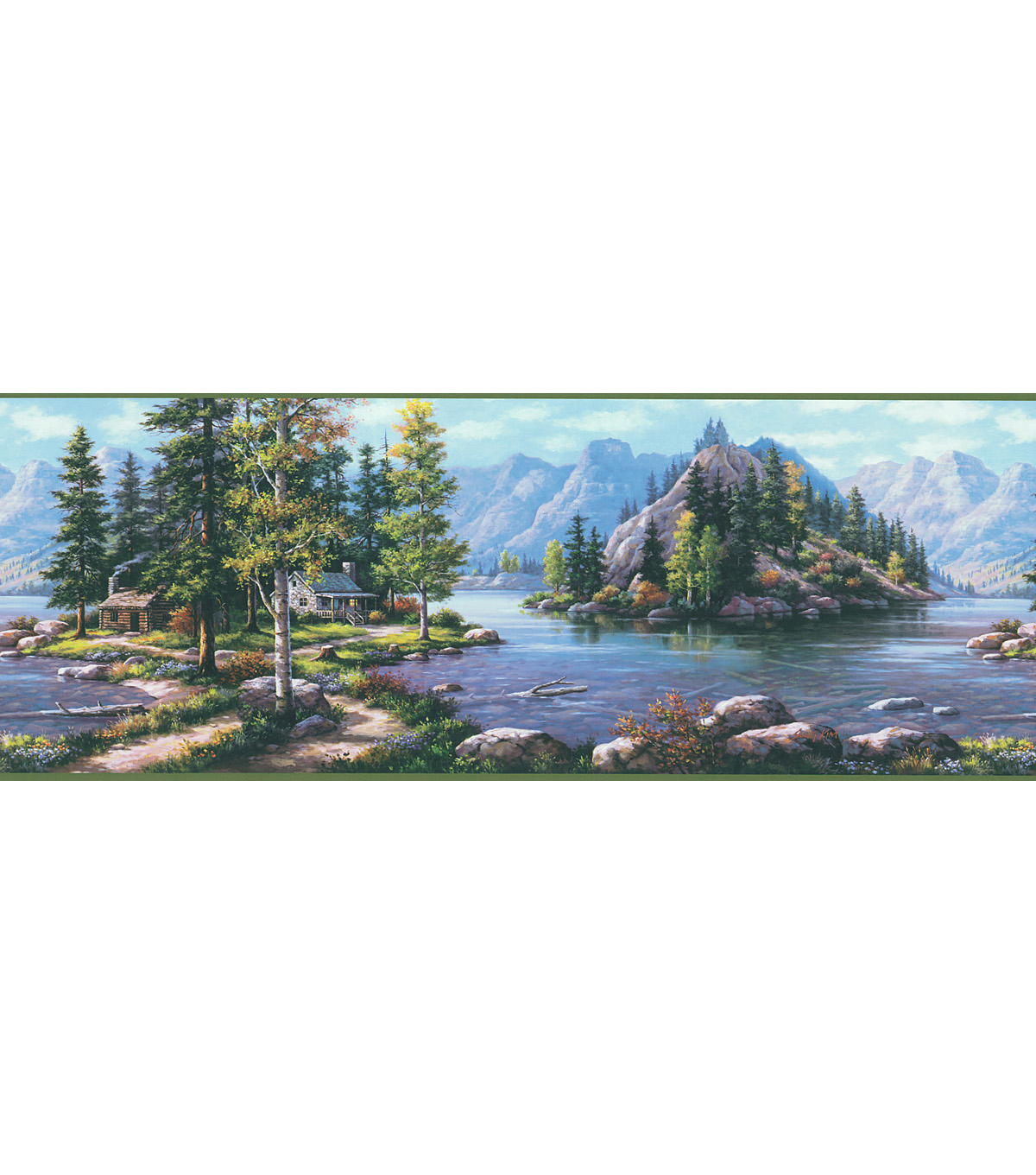 Bunyan Blue Mountain Cabin Wallpaper Border Sample