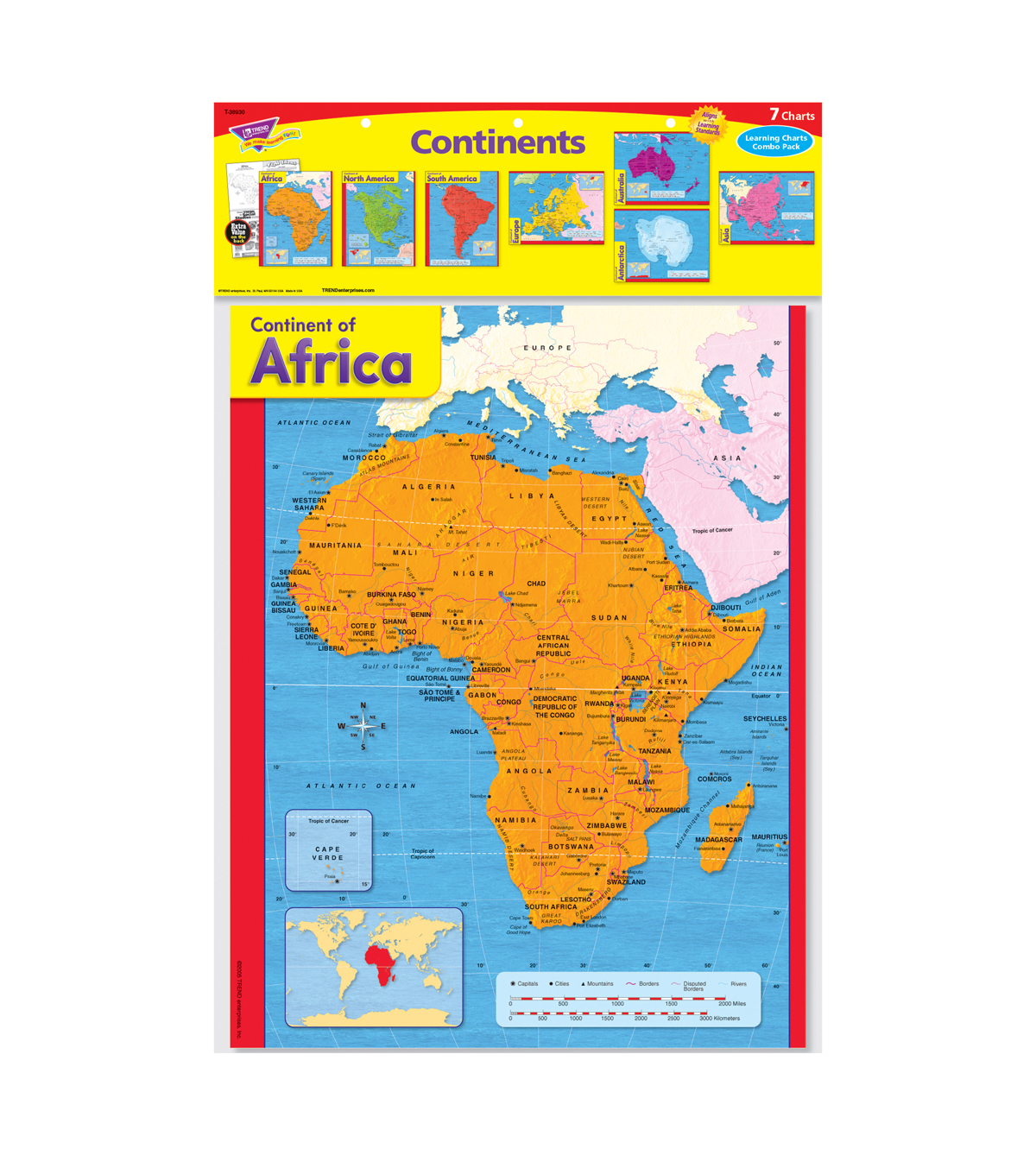 Trend Enterprises Inc. Continents Learning Charts Combo Pack