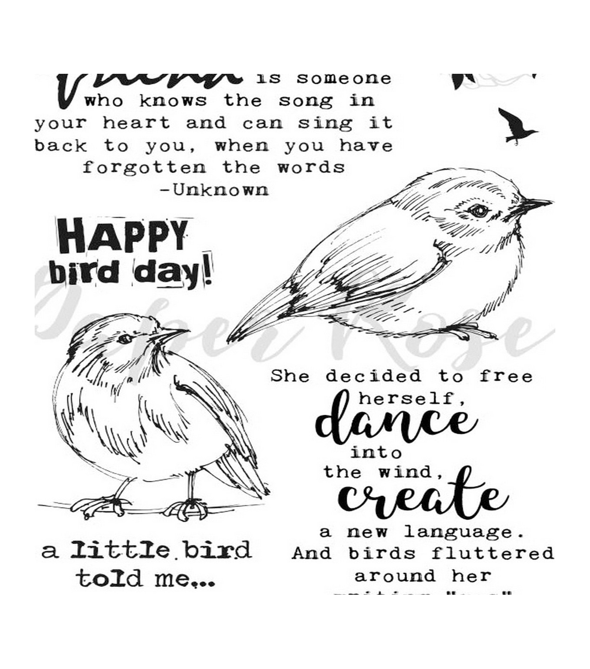 Paper Rose 10 pk Clear Stamps-Bird Day