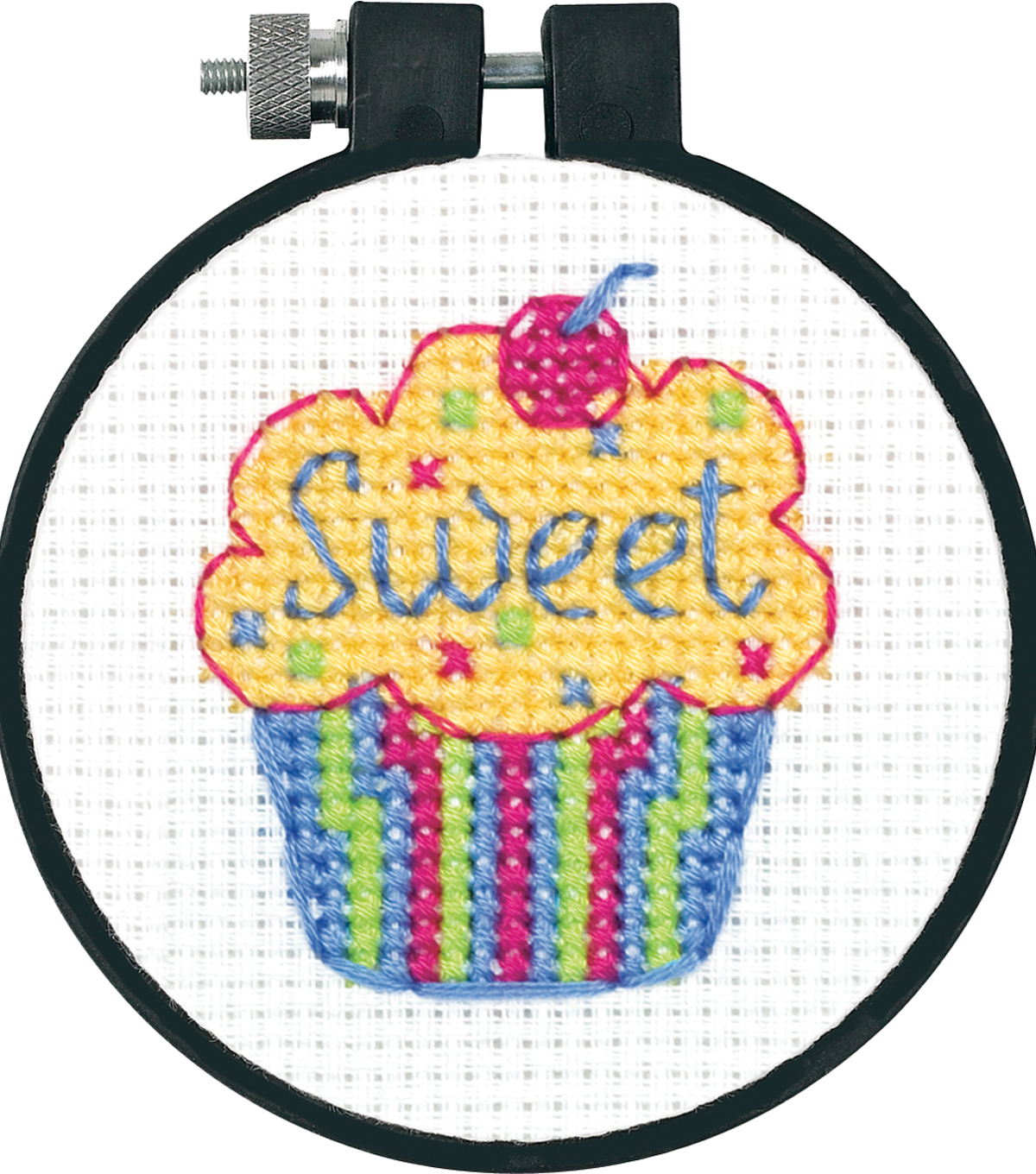 CROSS STITCH KIT WITH WOODEN HOOP CUPCAKES ON STAND