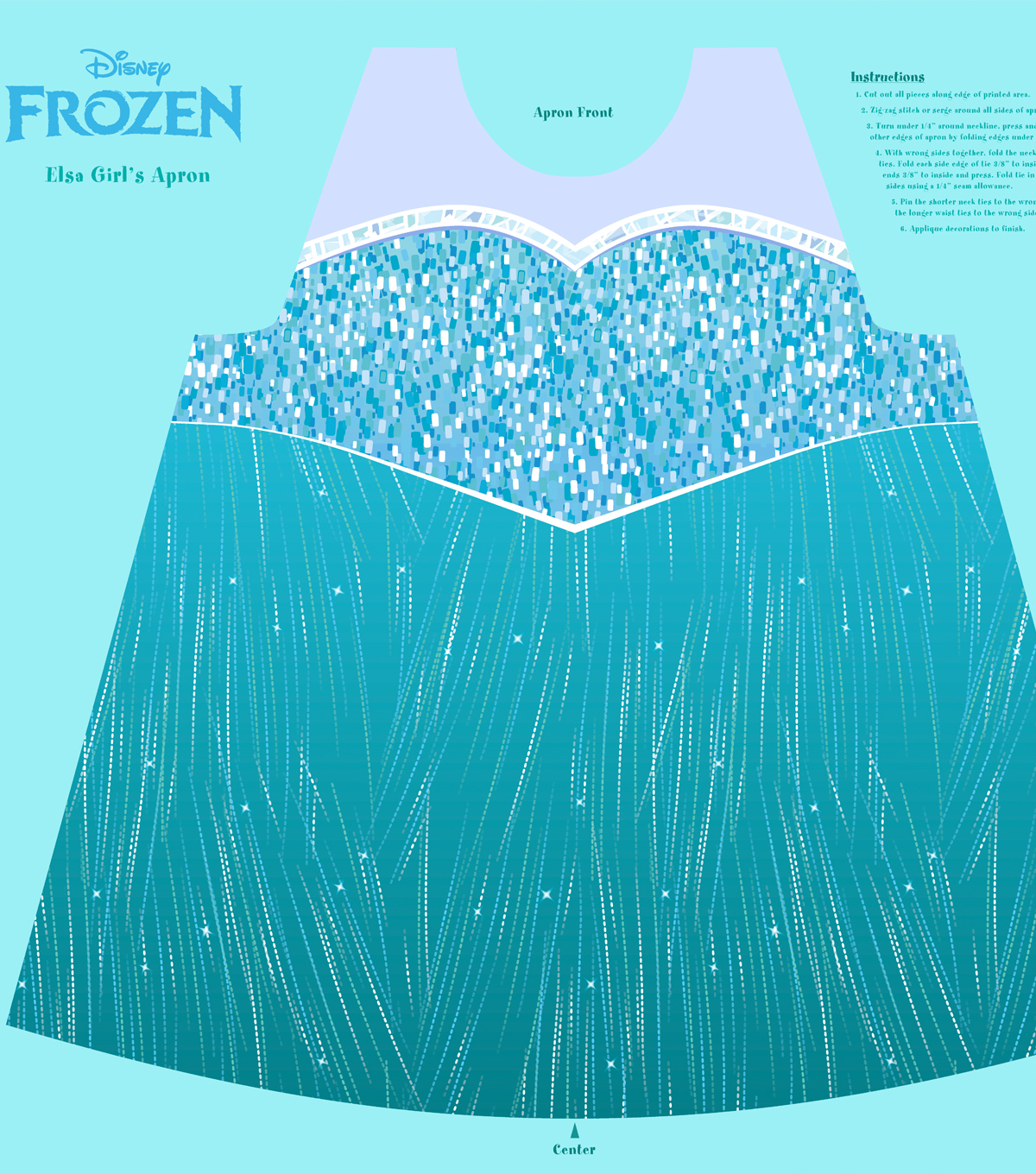 Disney Frozen Elsa Cotton Girl\u0027s Apron Panel Fabric