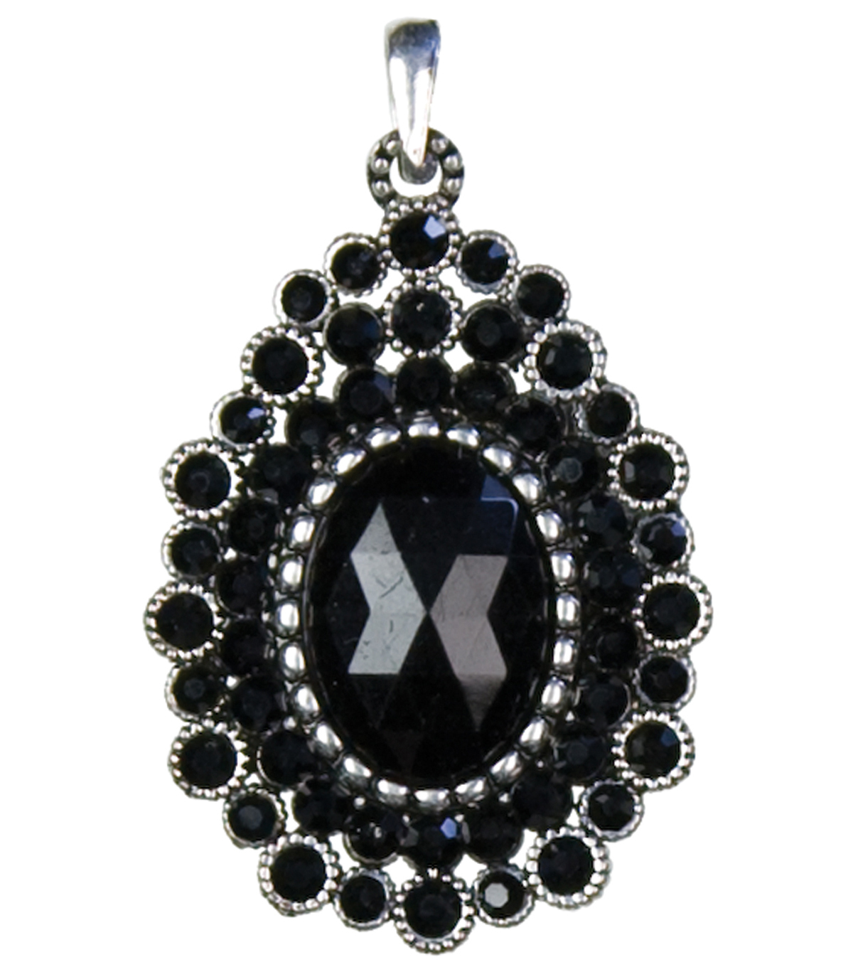 Jewelry Basics Metal Pendant 1/Pk-Black Oval