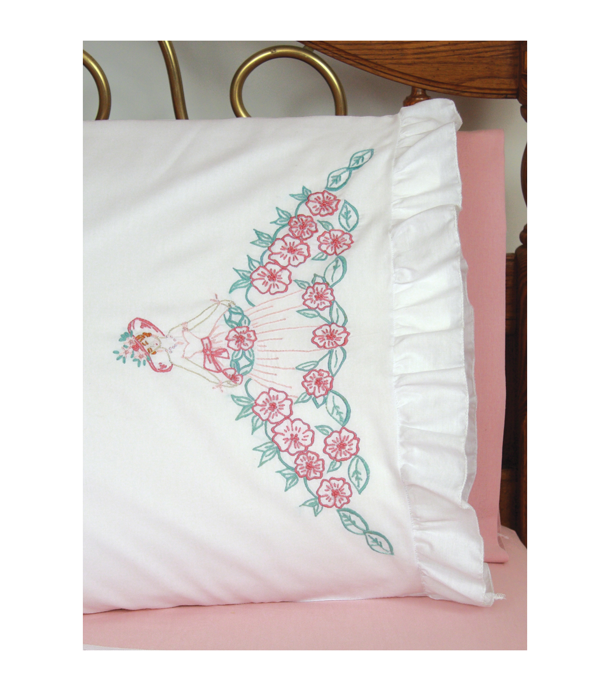 Fairway Stamped Lace Edge Pillowcase Flower Lady