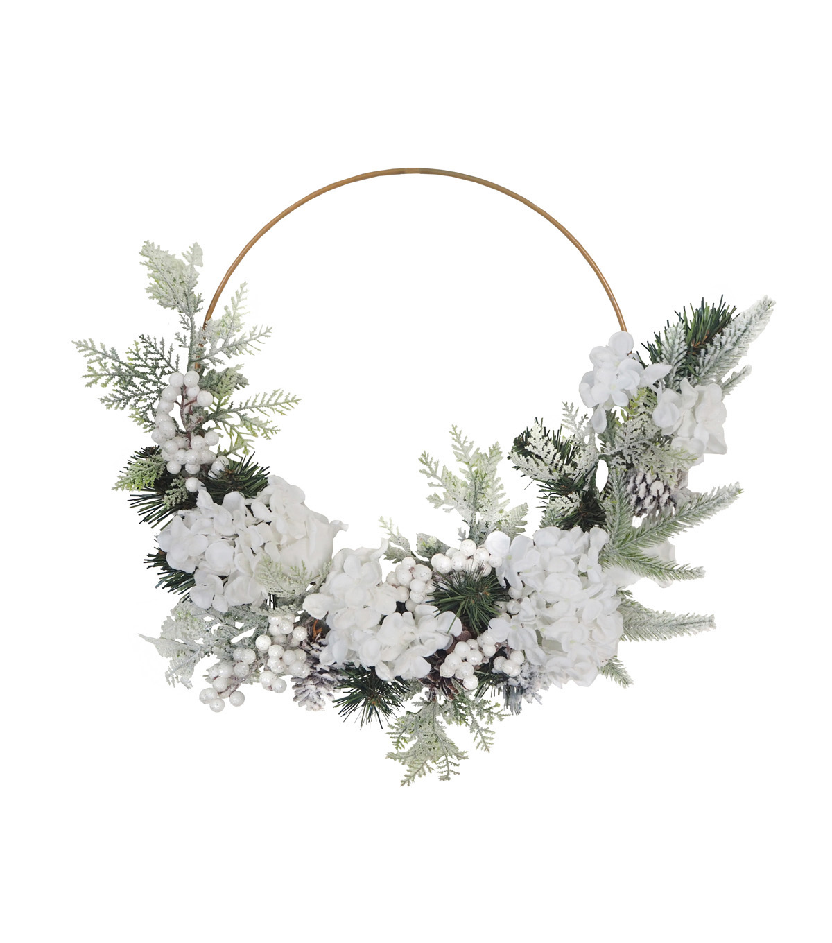 Blooming Holiday Christmas Frosted Hydrangea Minimalist Wreath-White