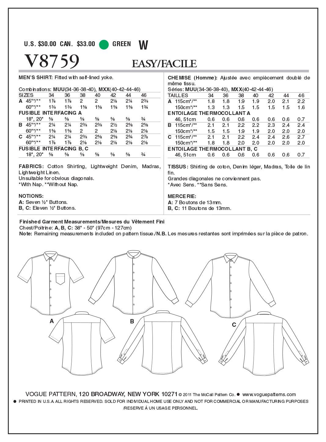 Vogue Patterns Mens Top V8759