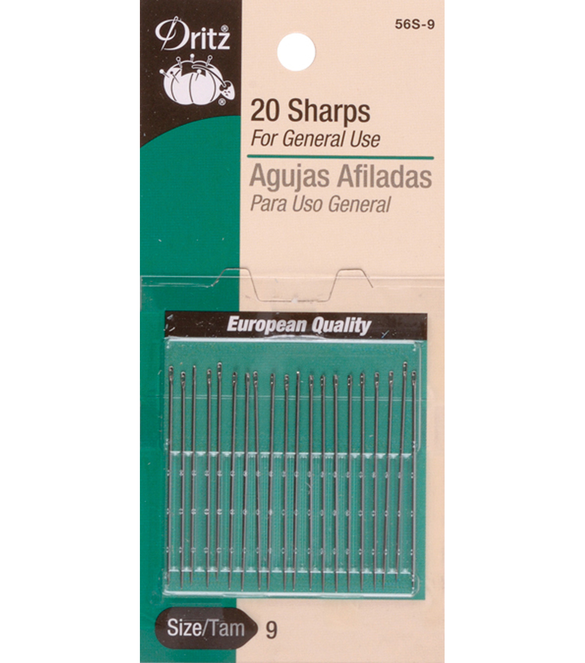Dritz Sharps Hand Needles 20pcs Size 9