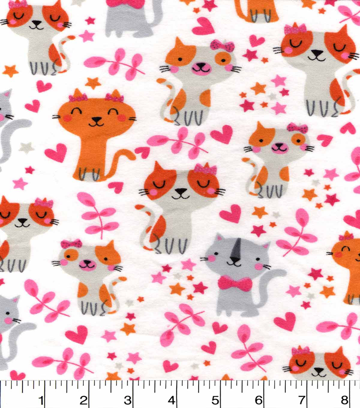 Snuggle Flannel Fabric -Pretty Kitty With Hearts