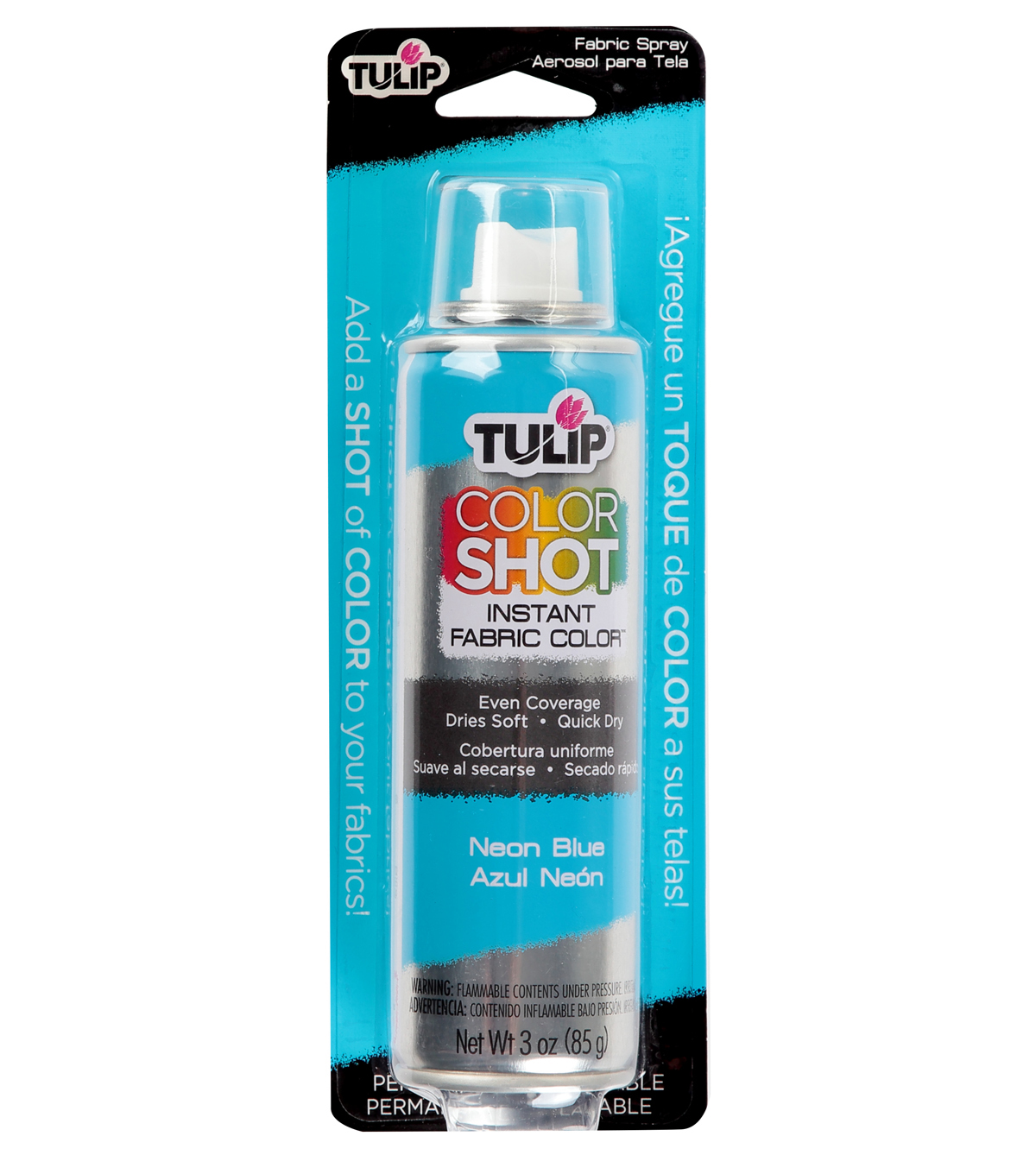 Tulip ColorShot Instant Fabric Color Spray 3oz, Neon Blue