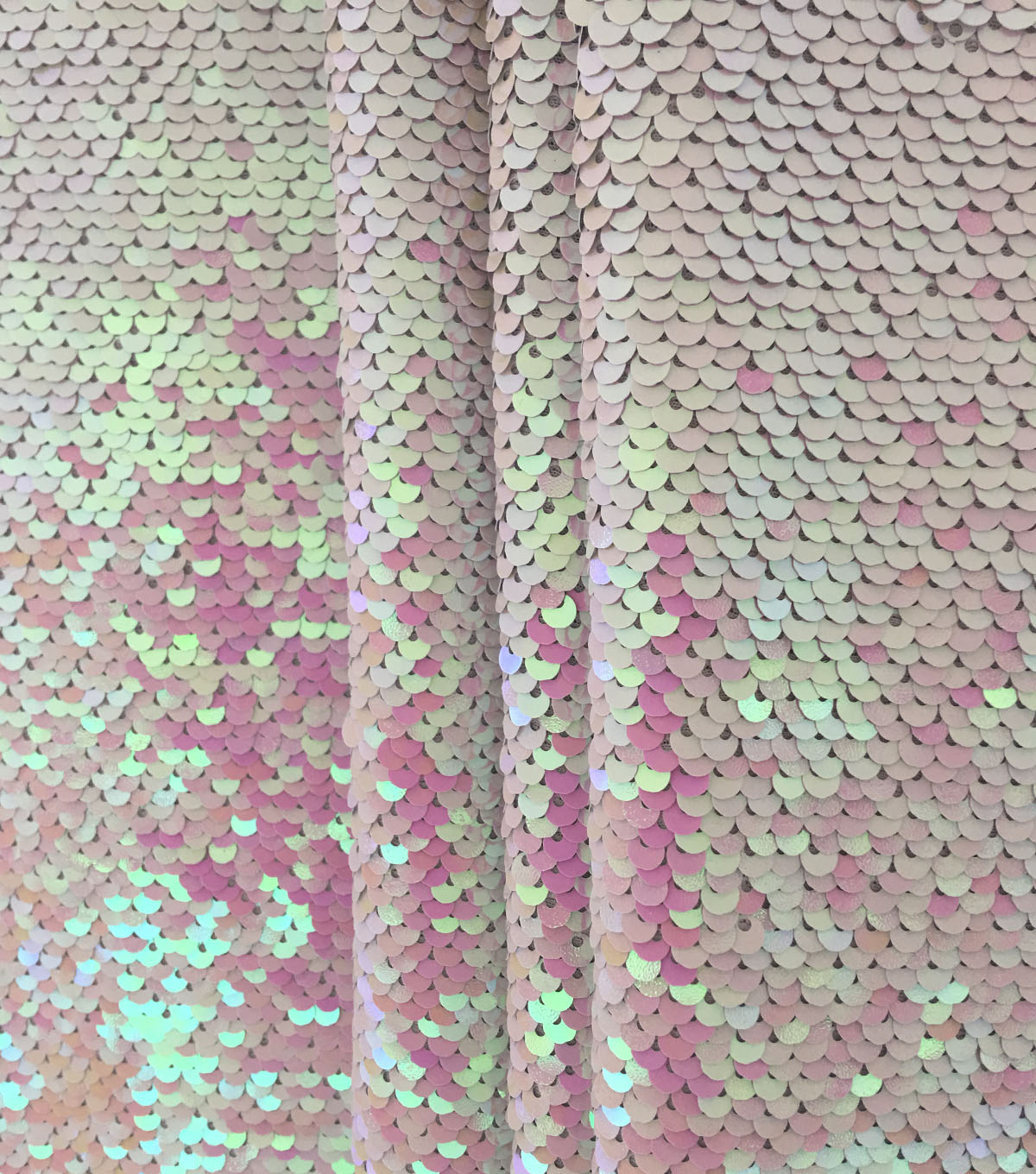 Reversible Sequin Fabric -Silver Holographic & Iridescent