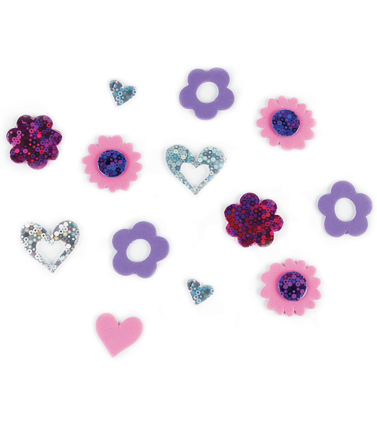 Foam Sticker Holographic-Hearts And Flowers 50/Pkg