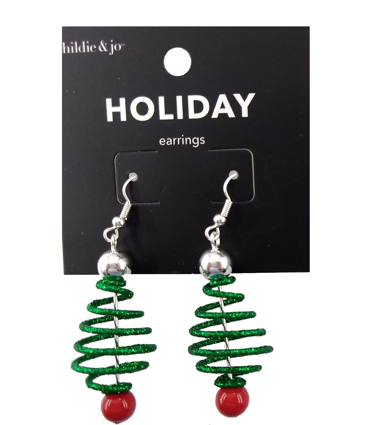hildie & jo Holiday Earrings-Green Spiral Tree