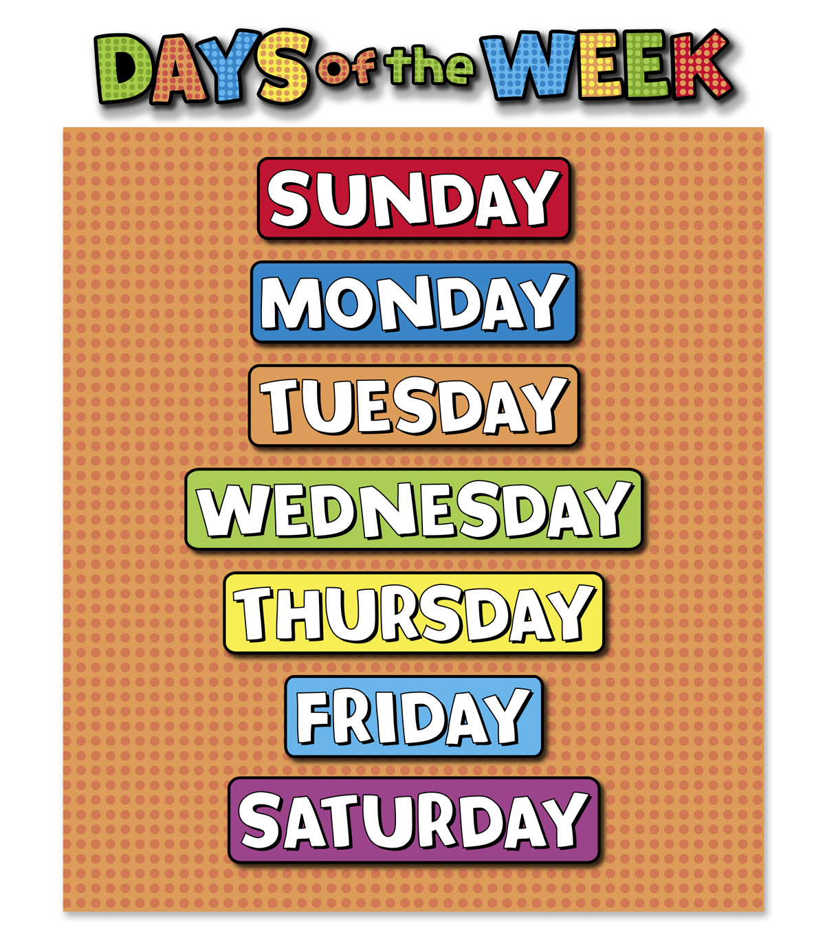 Home Decor Posters Busy Kids Learning Large Classroom Chart Days Of The Week